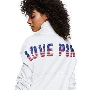 VS PINK Patriotic Bling Sequin White Dog Pullover